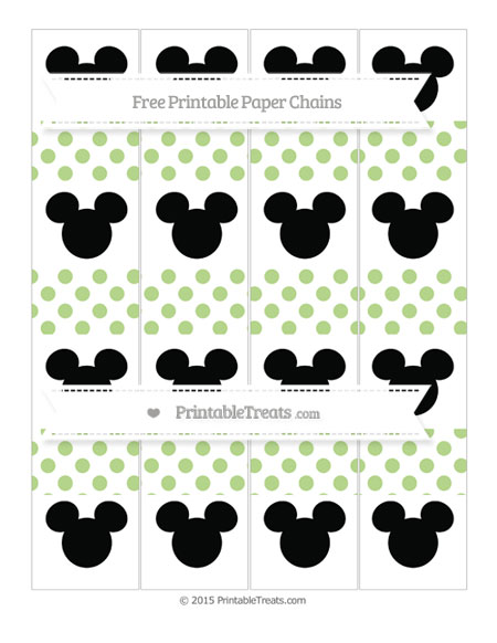 Free Pastel Light Green Dotted Pattern Mickey Mouse Paper Chains