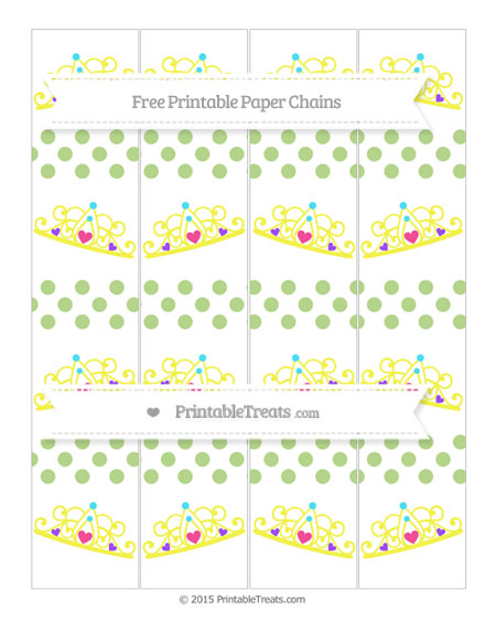 Free Pastel Light Green Dotted Pattern Princess Tiara Paper Chains