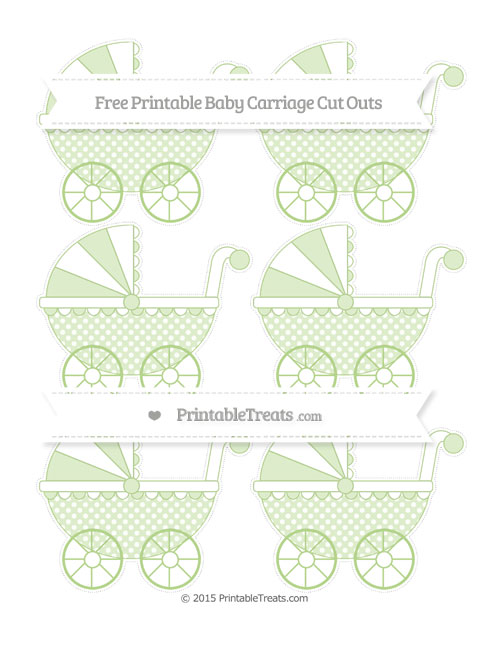 Free Pastel Light Green Dotted Pattern Small Baby Carriage Cut Outs