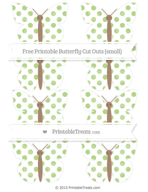 Free Pastel Light Green Dotted Pattern Small Butterfly Cut Outs