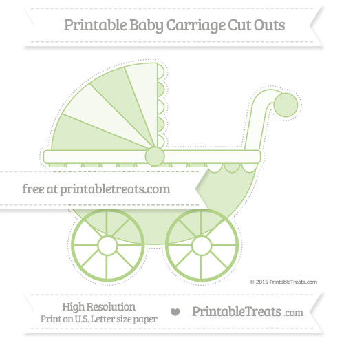 Free Pastel Light Green Extra Large Baby Carriage Cut Outs