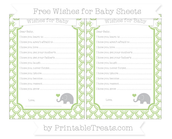 Free Pastel Light Green Fish Scale Pattern Baby Elephant Wishes for Baby Sheets