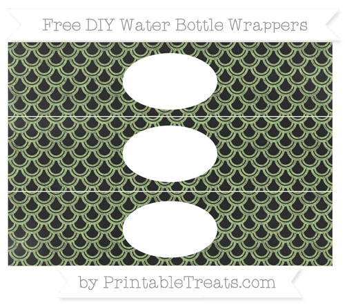 Free Pastel Light Green Fish Scale Pattern Chalk Style DIY Water Bottle Wrappers