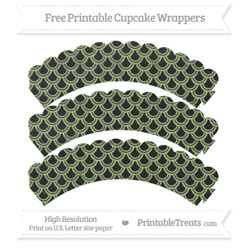 Free Pastel Light Green Fish Scale Pattern Chalk Style Scalloped Cupcake Wrappers