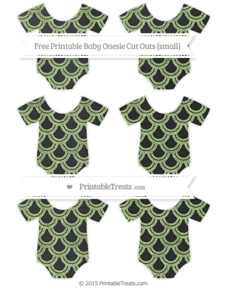 Free Pastel Light Green Fish Scale Pattern Chalk Style Small Baby Onesie Cut Outs