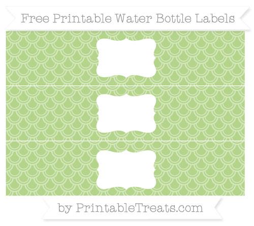 Free Pastel Light Green Fish Scale Pattern Water Bottle Labels