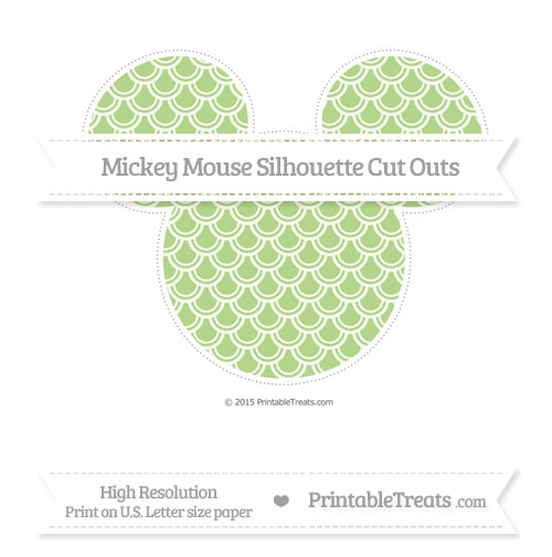 Free Pastel Light Green Fish Scale Pattern Extra Large Mickey Mouse Silhouette Cut Outs