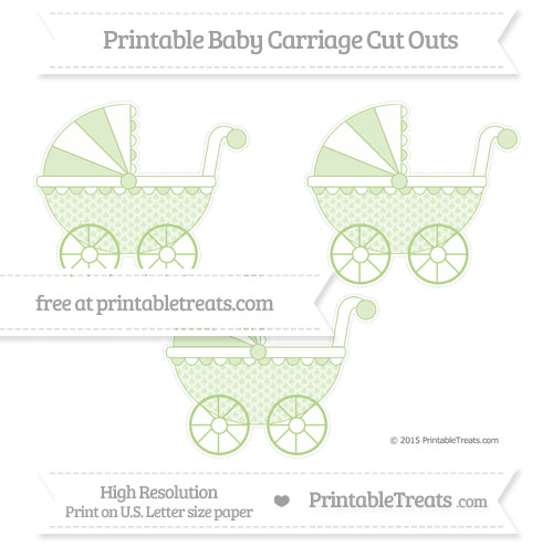 Free Pastel Light Green Fish Scale Pattern Medium Baby Carriage Cut Outs