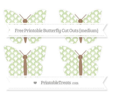 Free Pastel Light Green Fish Scale Pattern Medium Butterfly Cut Outs