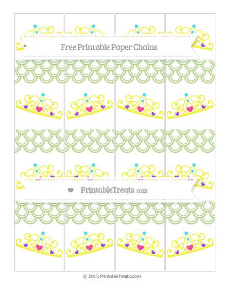 Free Pastel Light Green Fish Scale Pattern Princess Tiara Paper Chains