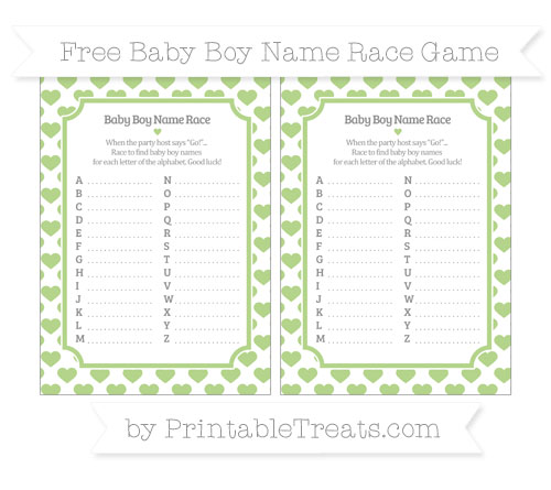 Free Pastel Light Green Heart Pattern Baby Boy Name Race Game