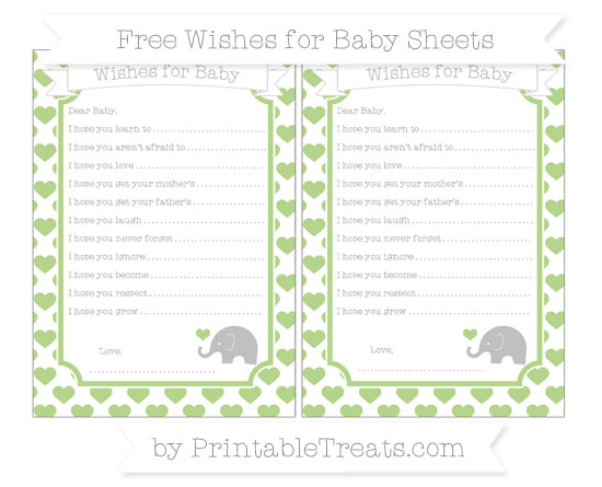 Free Pastel Light Green Heart Pattern Baby Elephant Wishes for Baby Sheets