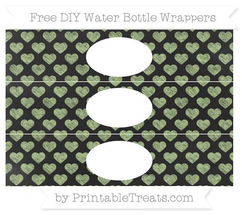 Free Pastel Light Green Heart Pattern Chalk Style DIY Water Bottle Wrappers