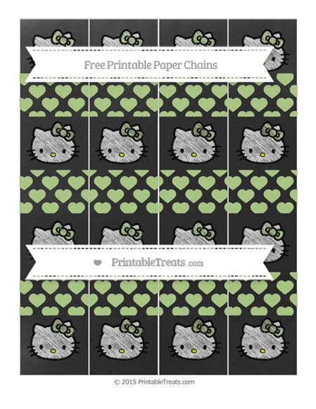 Free Pastel Light Green Heart Pattern Chalk Style Hello Kitty Paper Chains