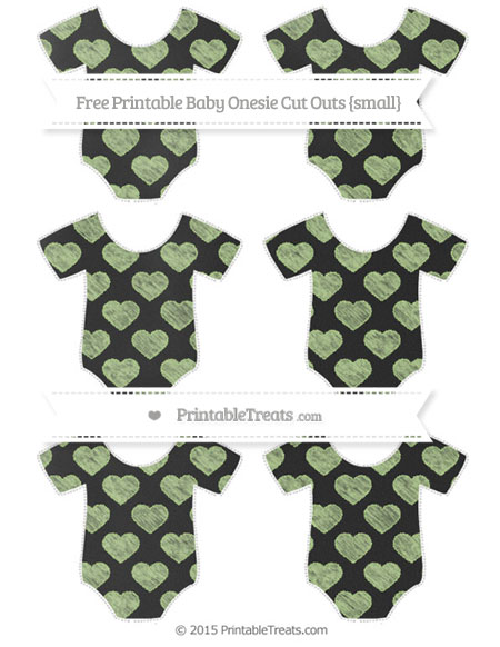 Free Pastel Light Green Heart Pattern Chalk Style Small Baby Onesie Cut Outs