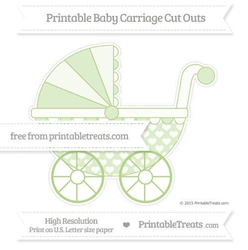 Free Pastel Light Green Heart Pattern Extra Large Baby Carriage Cut Outs