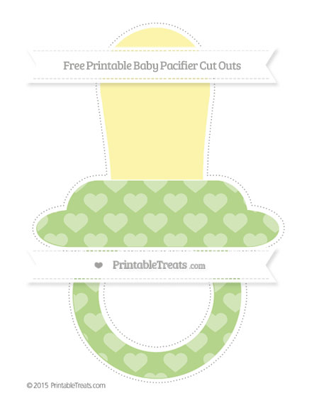 Free Pastel Light Green Heart Pattern Extra Large Baby Pacifier Cut Outs
