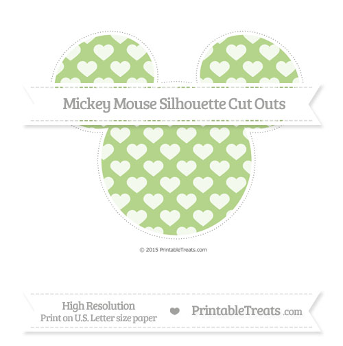 Free Pastel Light Green Heart Pattern Extra Large Mickey Mouse Silhouette Cut Outs