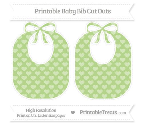 Free Pastel Light Green Heart Pattern Large Baby Bib Cut Outs