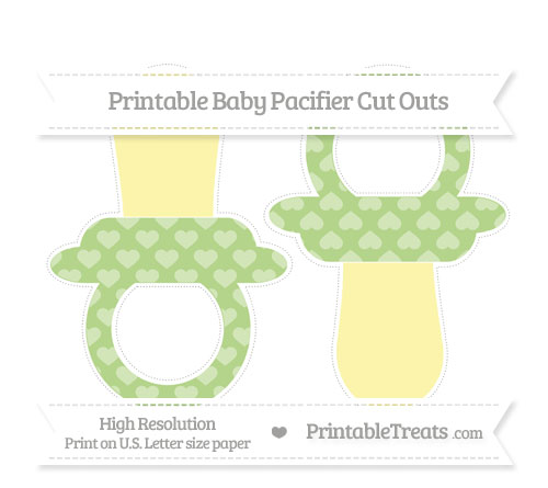 Free Pastel Light Green Heart Pattern Large Baby Pacifier Cut Outs