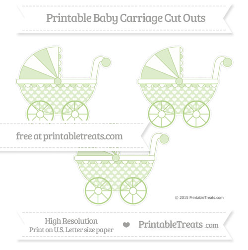 Free Pastel Light Green Heart Pattern Medium Baby Carriage Cut Outs