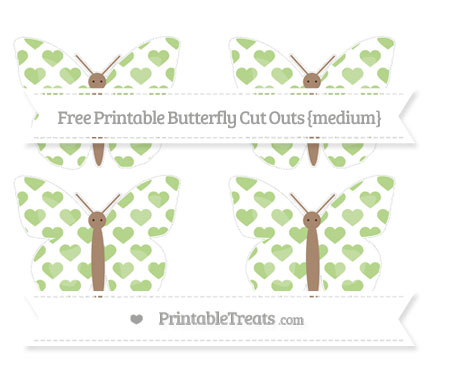 Free Pastel Light Green Heart Pattern Medium Butterfly Cut Outs