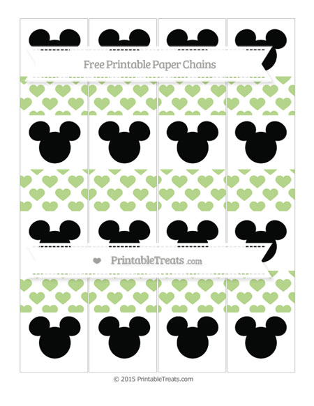 Free Pastel Light Green Heart Pattern Mickey Mouse Paper Chains