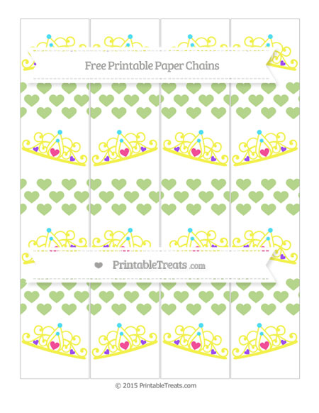 Free Pastel Light Green Heart Pattern Princess Tiara Paper Chains