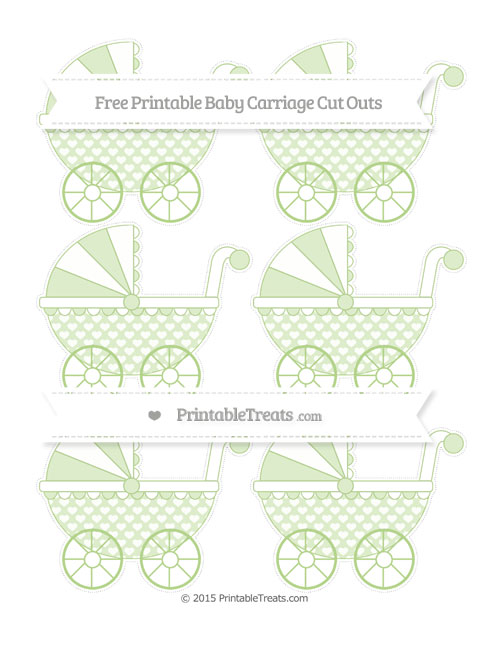 Free Pastel Light Green Heart Pattern Small Baby Carriage Cut Outs