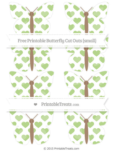 Free Pastel Light Green Heart Pattern Small Butterfly Cut Outs
