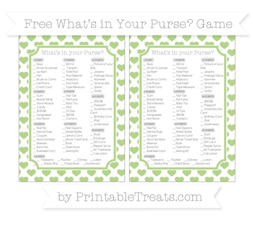 Free Pastel Light Green Heart Pattern What's in Your Purse Baby Shower Game