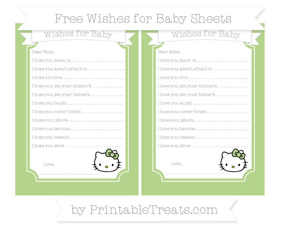 Free Pastel Light Green Hello Kitty Wishes for Baby Sheets
