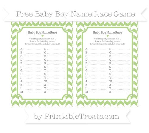 Free Pastel Light Green Herringbone Pattern Baby Boy Name Race Game