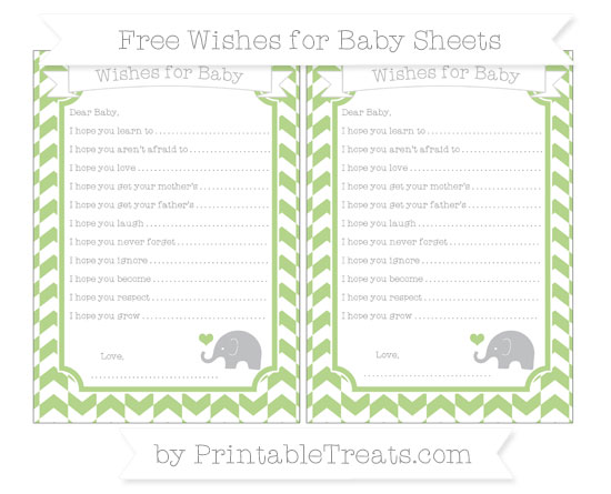 Free Pastel Light Green Herringbone Pattern Baby Elephant Wishes for Baby Sheets