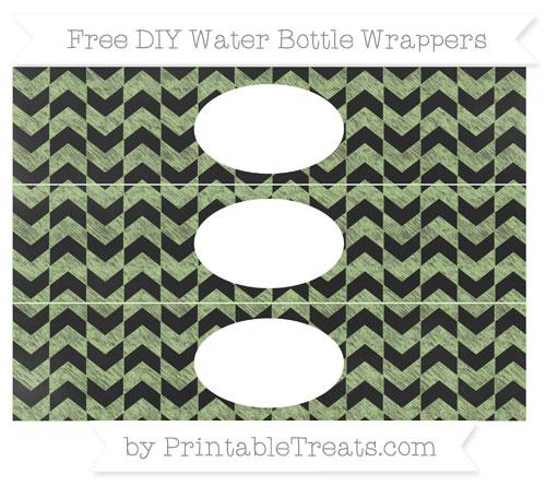 Free Pastel Light Green Herringbone Pattern Chalk Style DIY Water Bottle Wrappers