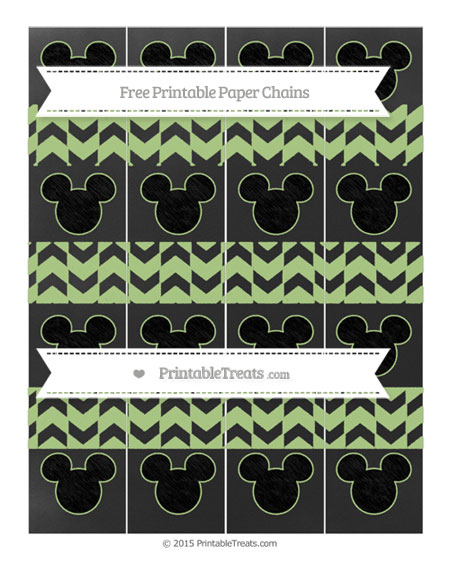 Free Pastel Light Green Herringbone Pattern Chalk Style Mickey Mouse Paper Chains