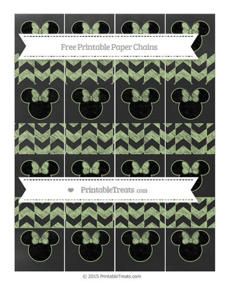 Free Pastel Light Green Herringbone Pattern Chalk Style Minnie Mouse Paper Chains