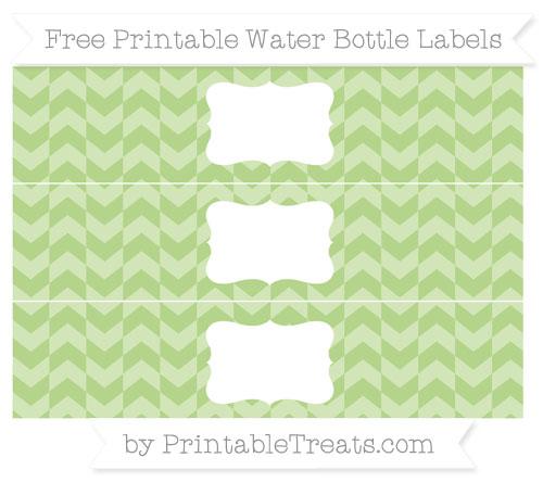 Free Pastel Light Green Herringbone Pattern Water Bottle Labels