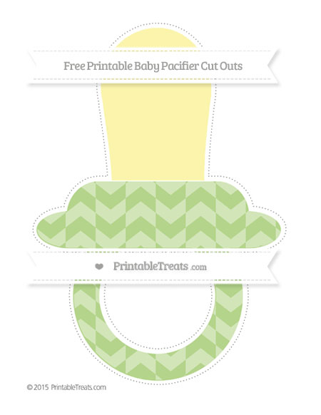 Free Pastel Light Green Herringbone Pattern Extra Large Baby Pacifier Cut Outs