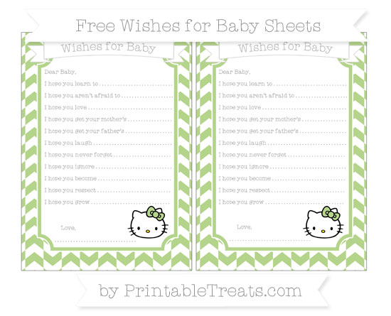 Free Pastel Light Green Herringbone Pattern Hello Kitty Wishes for Baby Sheets