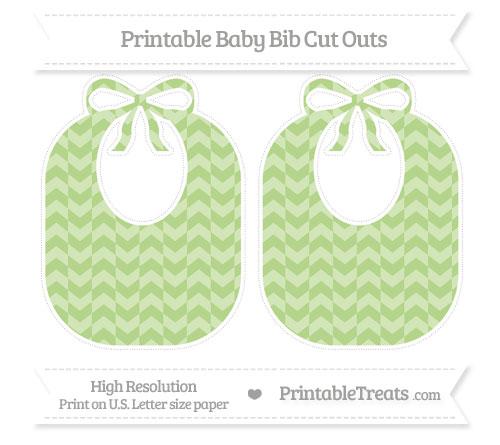 Free Pastel Light Green Herringbone Pattern Large Baby Bib Cut Outs