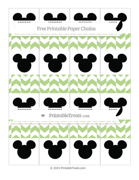 Free Pastel Light Green Herringbone Pattern Mickey Mouse Paper Chains