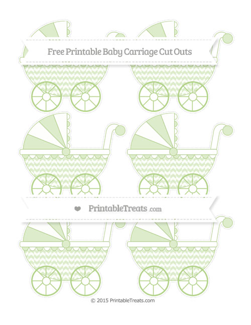 Free Pastel Light Green Herringbone Pattern Small Baby Carriage Cut Outs