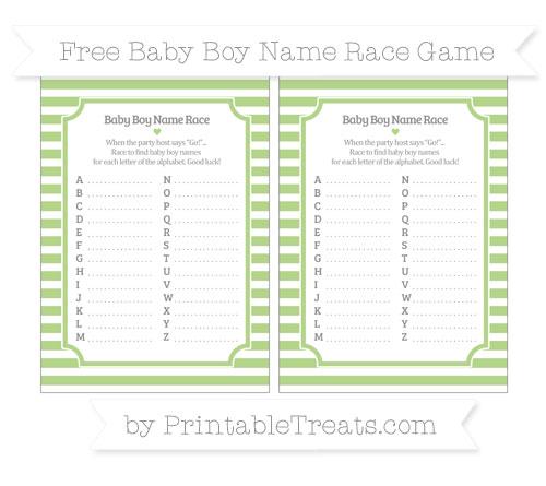 Free Pastel Light Green Horizontal Striped Baby Boy Name Race Game