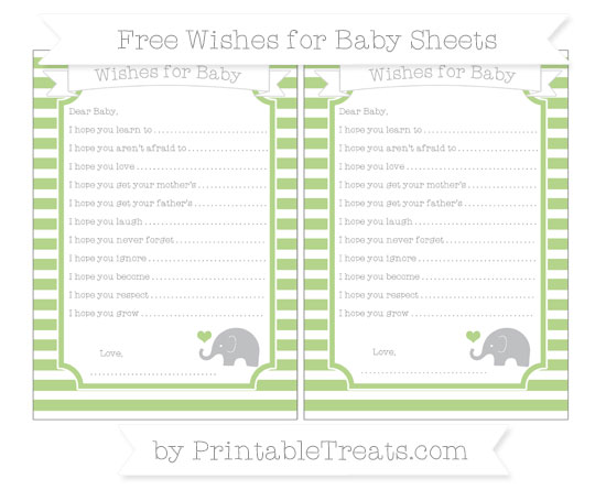 Free Pastel Light Green Horizontal Striped Baby Elephant Wishes for Baby Sheets