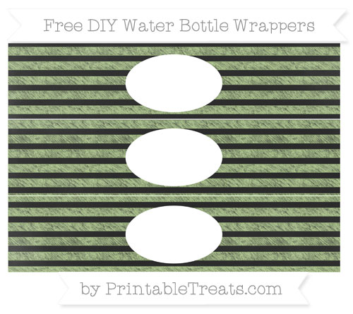 Free Pastel Light Green Horizontal Striped Chalk Style DIY Water Bottle Wrappers