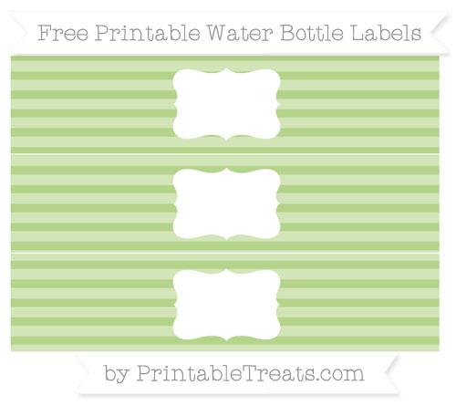 Free Pastel Light Green Horizontal Striped Water Bottle Labels