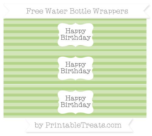 Free Pastel Light Green Horizontal Striped Happy Birhtday Water Bottle Wrappers