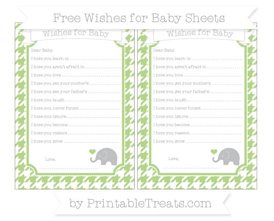 Free Pastel Light Green Houndstooth Pattern Baby Elephant Wishes for Baby Sheets