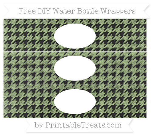 Free Pastel Light Green Houndstooth Pattern Chalk Style DIY Water Bottle Wrappers